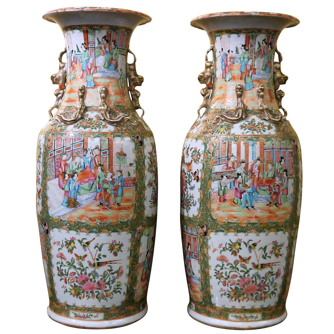 Pair of Large Chinese Rose Canton Vases 1