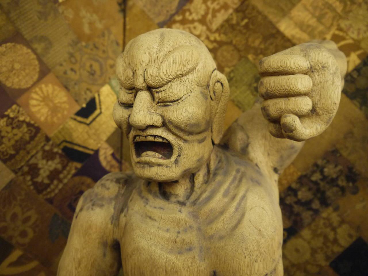 Wooden Japanese 18th Century Nio Guardian Figure 3