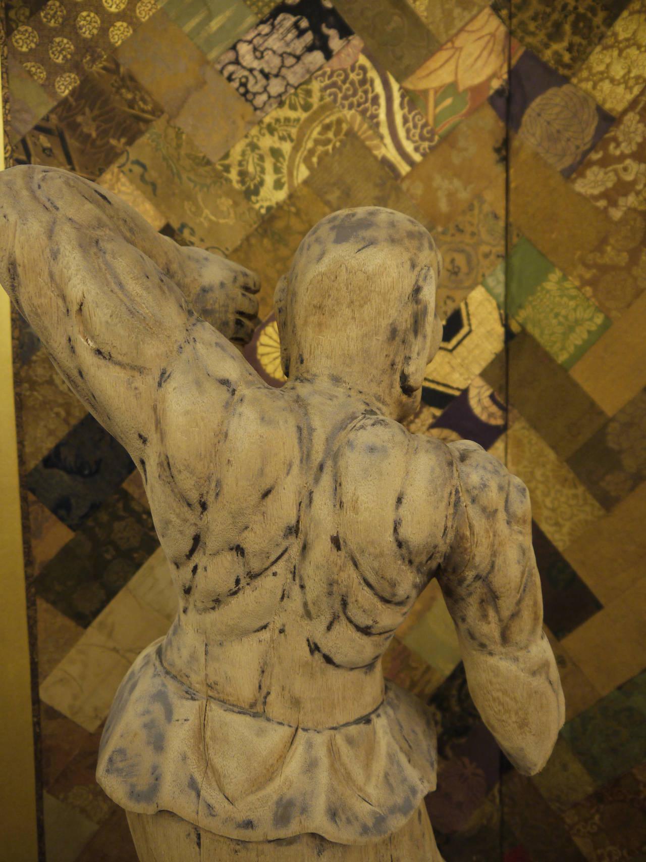 Wooden Japanese 18th Century Nio Guardian Figure 7