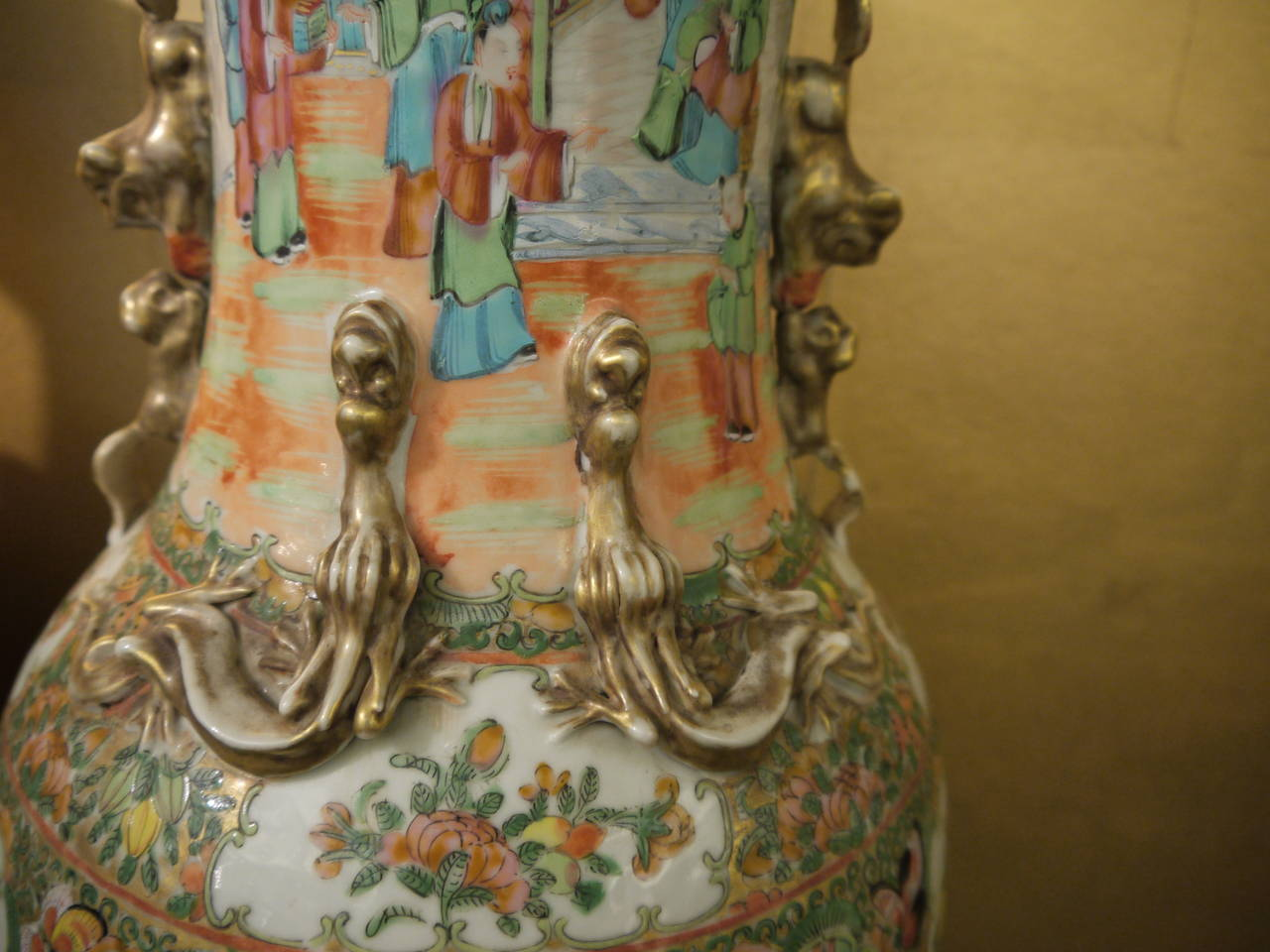 Hand-Painted Pair of Large Chinese Rose Canton Vases For Sale