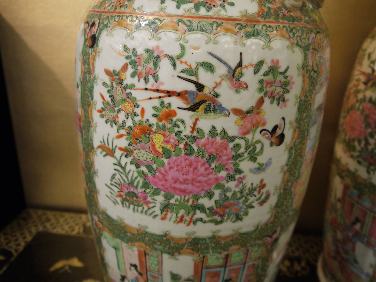 Porcelain Pair of Large Chinese Rose Canton Vases For Sale