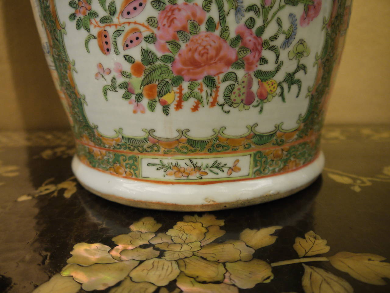Pair of Large Chinese Rose Canton Vases 7