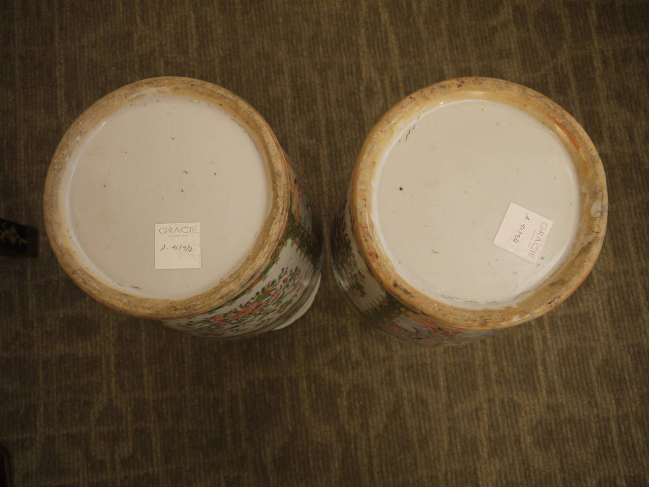 Pair of Large Chinese Rose Canton Vases 9