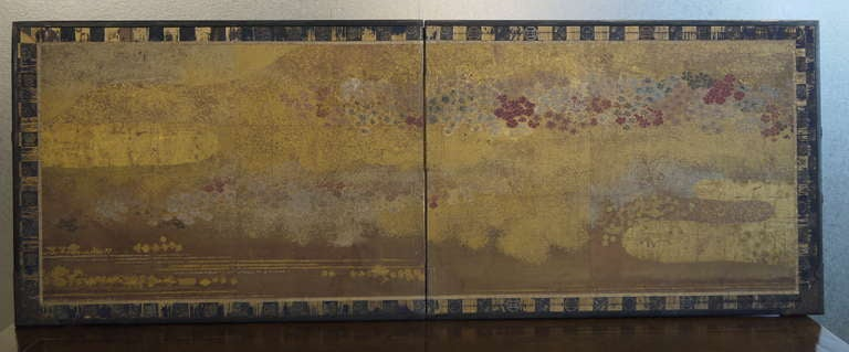 Two Panel Japanese Screen with Gold Clouds 2