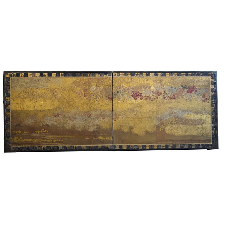 Two Panel Japanese Screen with Gold Clouds 1