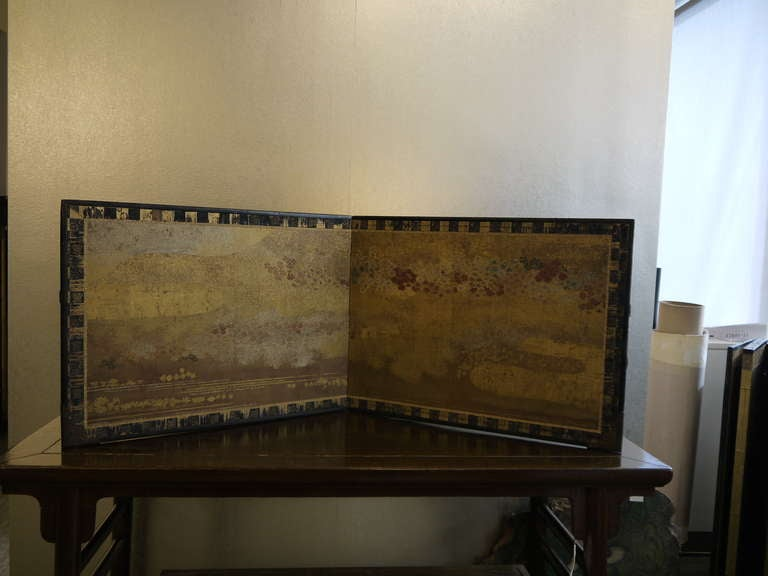 Two Panel Japanese Screen with Gold Clouds 3