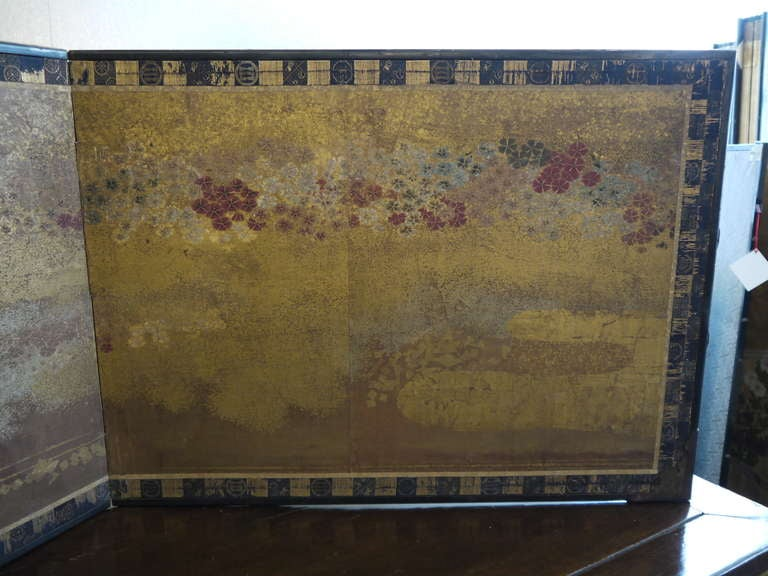 Two Panel Japanese Screen with Gold Clouds 6
