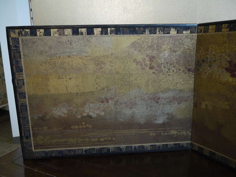 Two Panel Japanese Screen with Gold Clouds 7