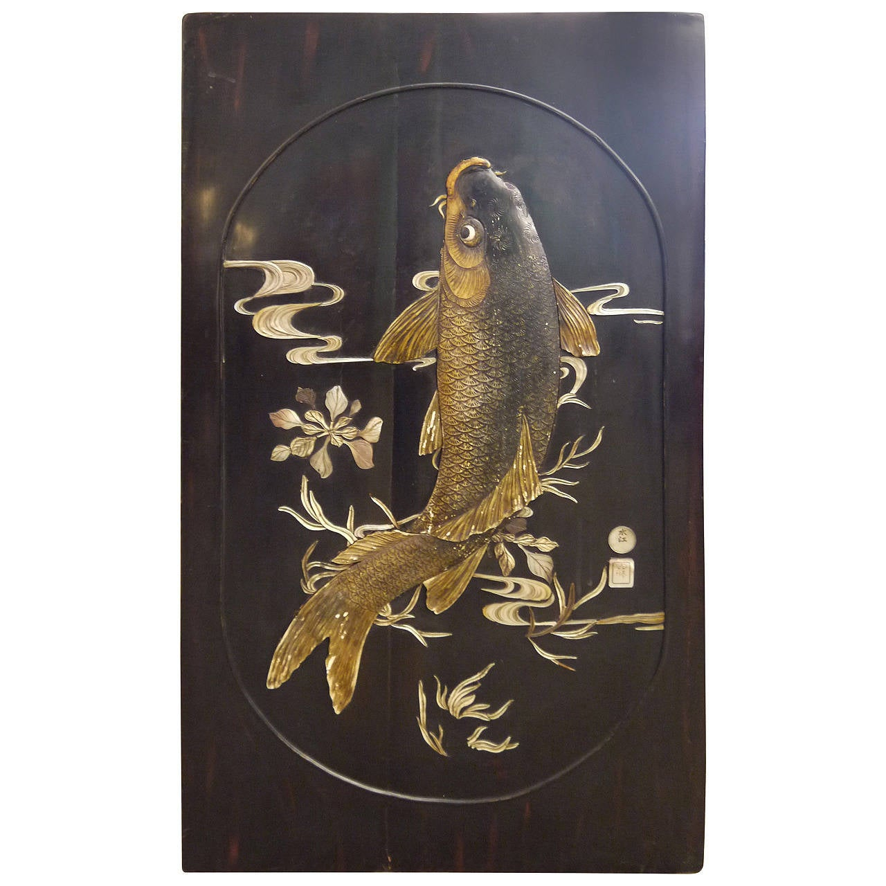 Large Lacquer Panel with Carp For Sale