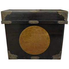 Huge Japanese Lacquer Trunk with Gold Crests