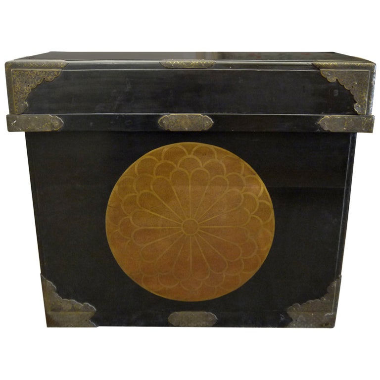 Huge Japanese Lacquer Trunk with Gold Crests For Sale