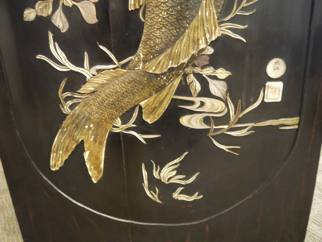 Hand-Carved Large Lacquer Panel with Carp For Sale