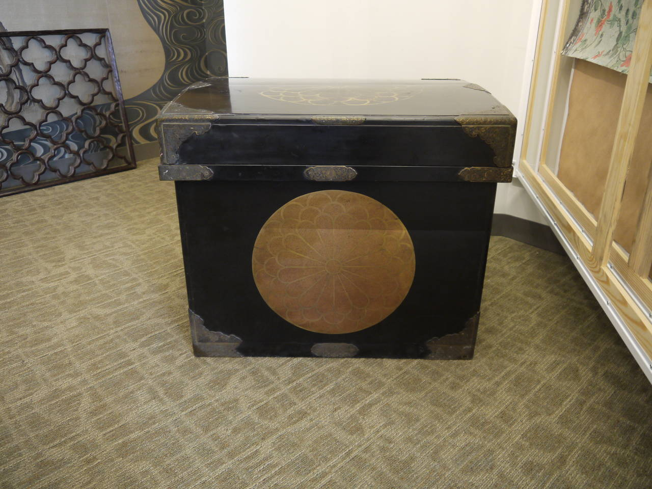 Lacquered Huge Japanese Lacquer Trunk with Gold Crests For Sale