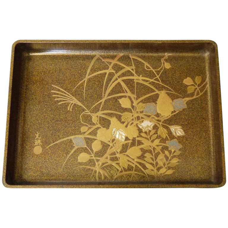 Mother Of Pearl Cream Flower Large Square Decor Vase: 19th Century Japanese Lacquer Tray At 1stdibs