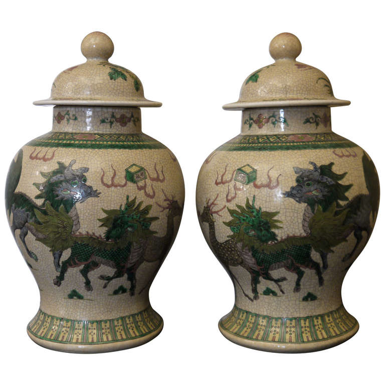 Large Pair of Chinese Temple Jars For Sale