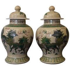 Large Pair of Chinese Temple Jars