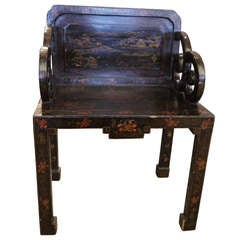 Antique Chinese Lacquer Armchair