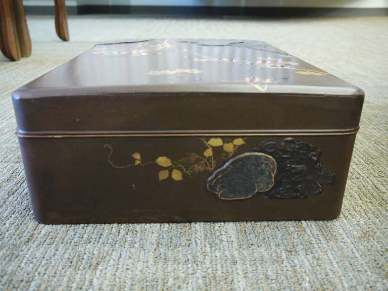 Wood Large Japanese Lacquer Box For Sale