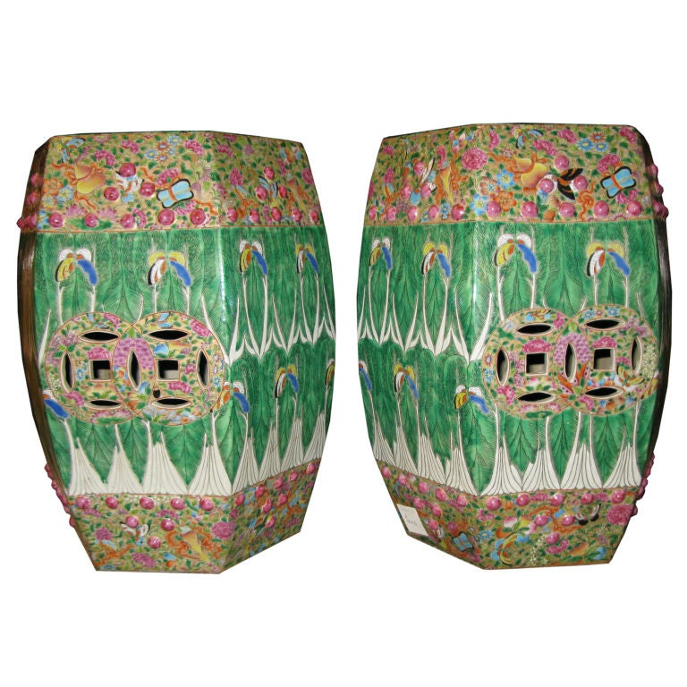 Pair of Chinese Cabbage Leaf Garden Seats
