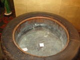 Huge Antique Japanese Wooden Hibachi image 4