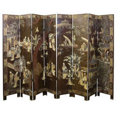 Antique Chinese Eight Panel Coromandel Screen