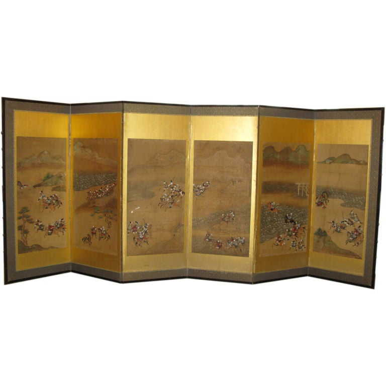 Antique Japanese Six Panel Screen with Battle Scenes For Sale