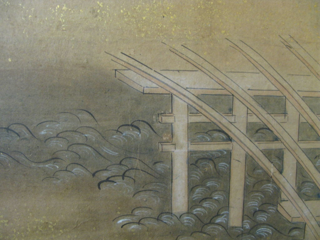 Antique Japanese Six Panel Screen with Battle Scenes In Good Condition For Sale In New York, NY