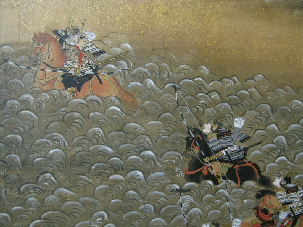19th Century Antique Japanese Six Panel Screen with Battle Scenes For Sale