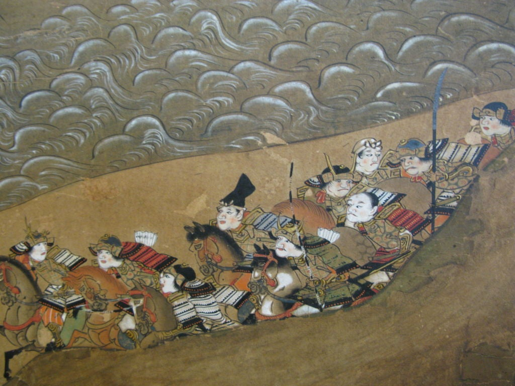 Antique Japanese Six Panel Screen with Battle Scenes For Sale 1