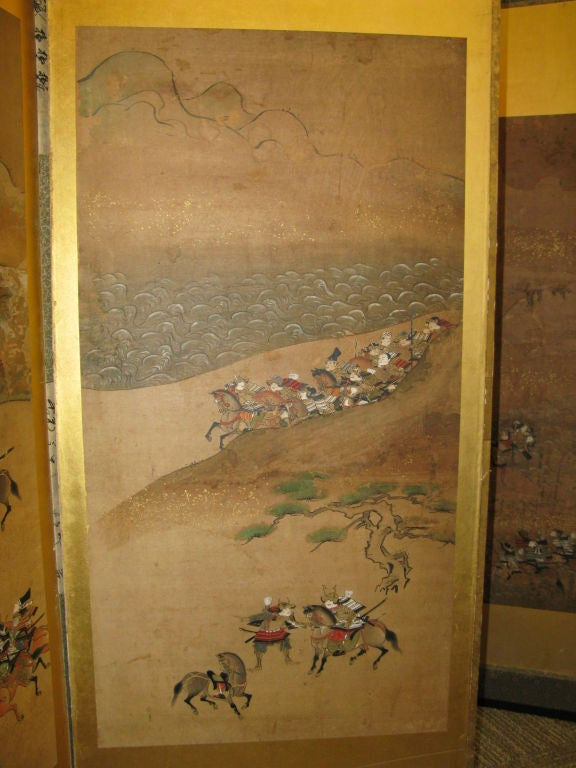 Antique Japanese Six Panel Screen with Battle Scenes For Sale 3