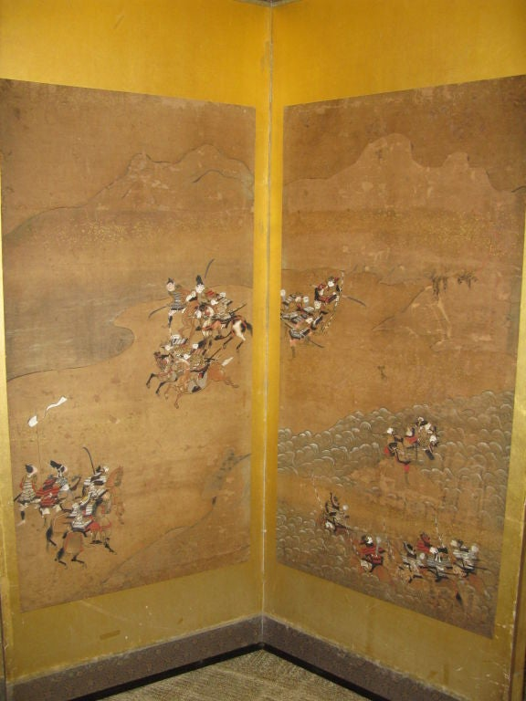 Antique Japanese Six Panel Screen with Battle Scenes For Sale 4