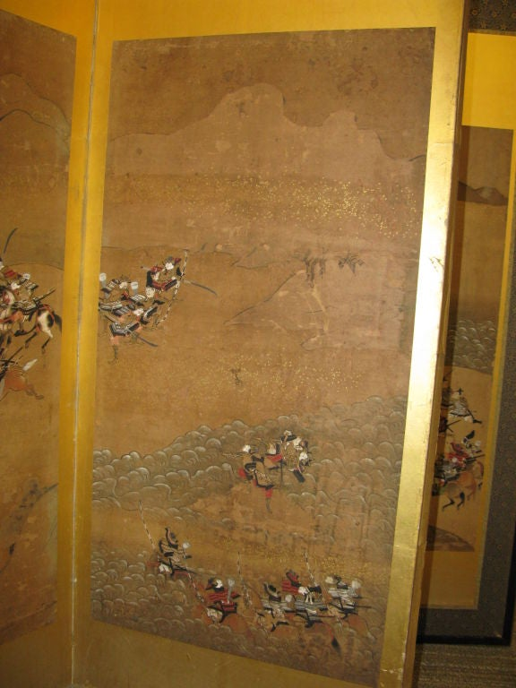 Antique Japanese Six Panel Screen with Battle Scenes For Sale 5