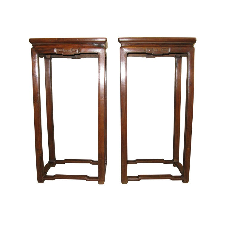 Pair of Chinese 19th Century Tall Pedestal Tables at 1stdibs
