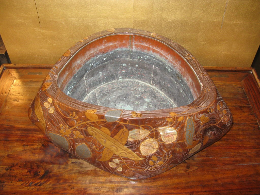 Japanese Paulownia Wood Brazier With Inlaid Design At 1stdibs