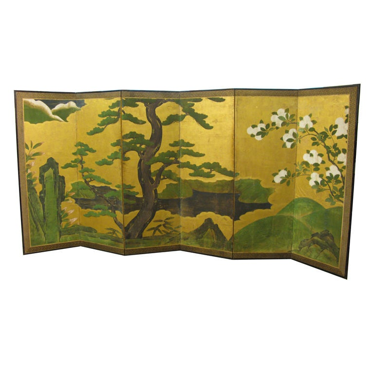 Antique Japanese Six-Panel Screen