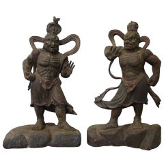 Large Pair of Japanese Guardian Figures