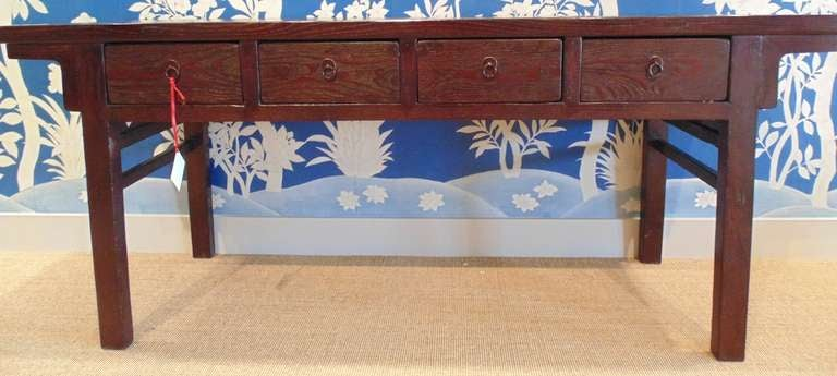 19th century Chinese console table with four drawers in apron, and simple hardware.