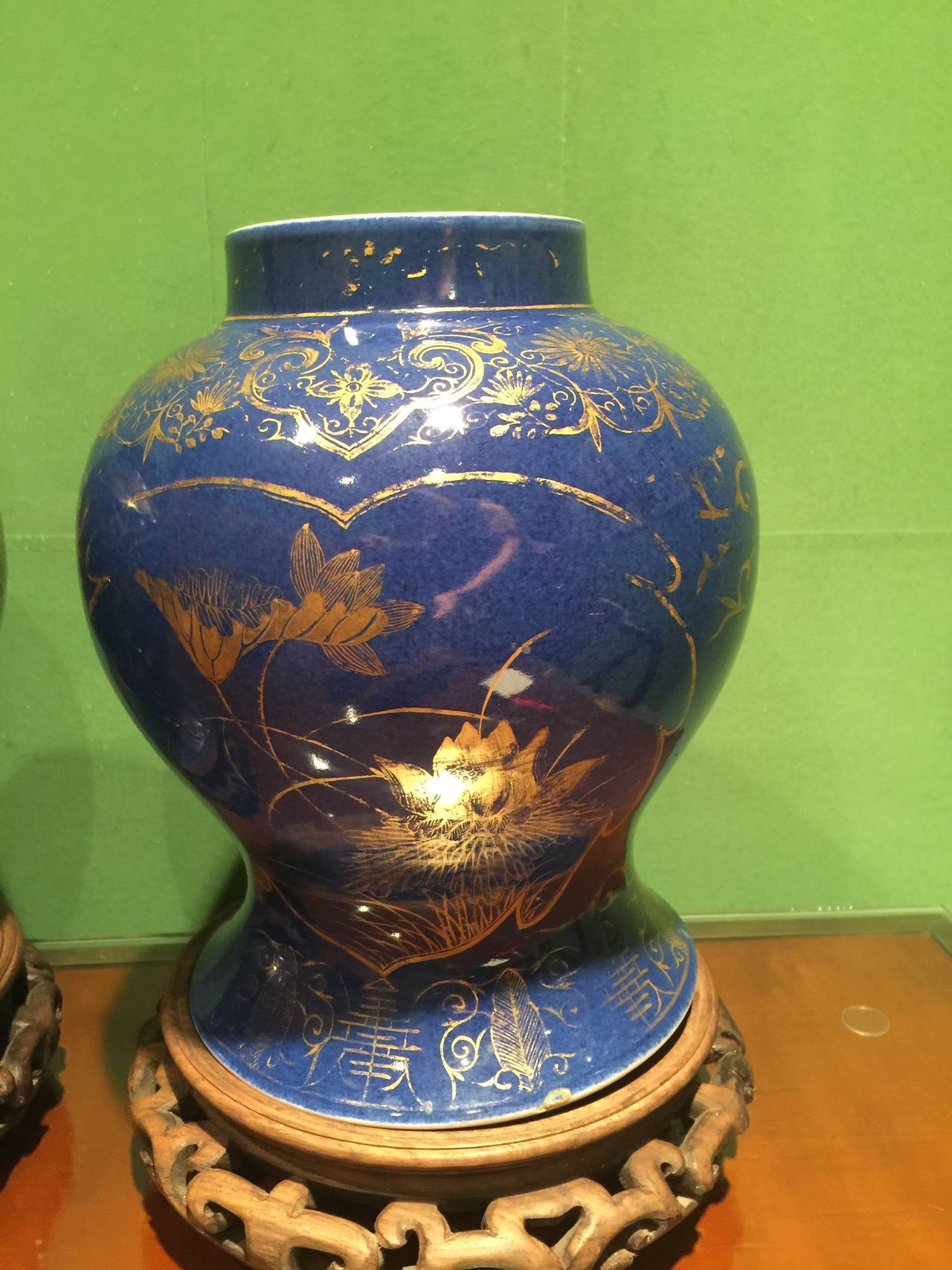 Pair Of Chinese 19th Century Cobalt Temple Jars For Sale At 1stdibs