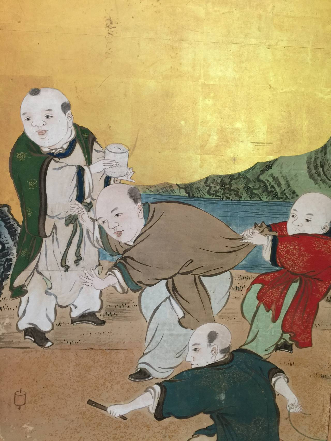 Hand-Painted Japanese Six-Panel Screen with Children For Sale