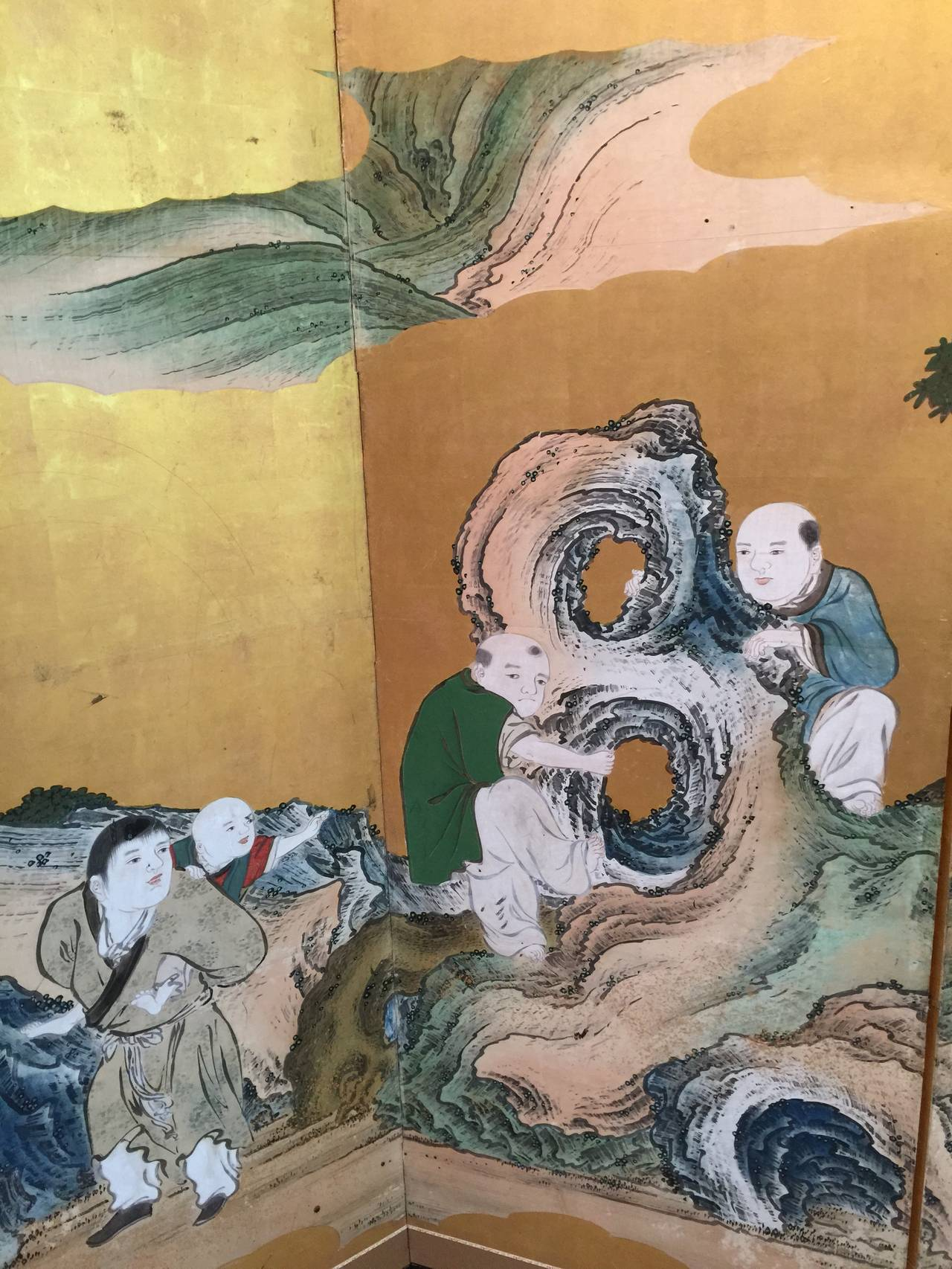 Japanese Six-Panel Screen with Children For Sale 1