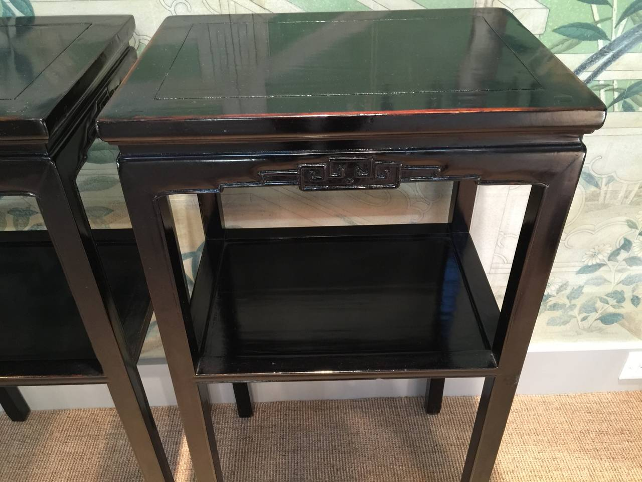 Chinese Black Lacquer Pedestal Tables 2