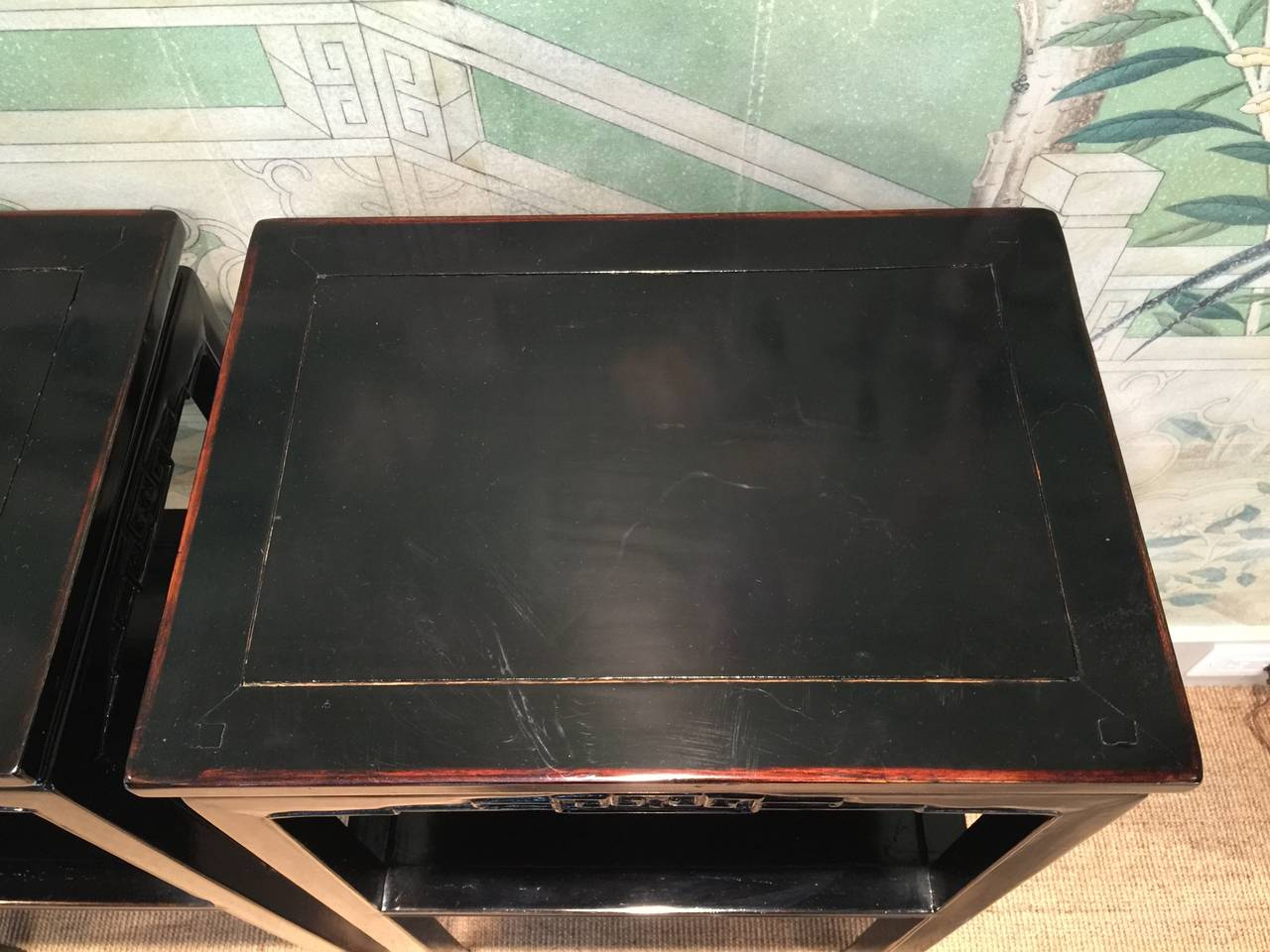 Chinese Black Lacquer Pedestal Tables 3
