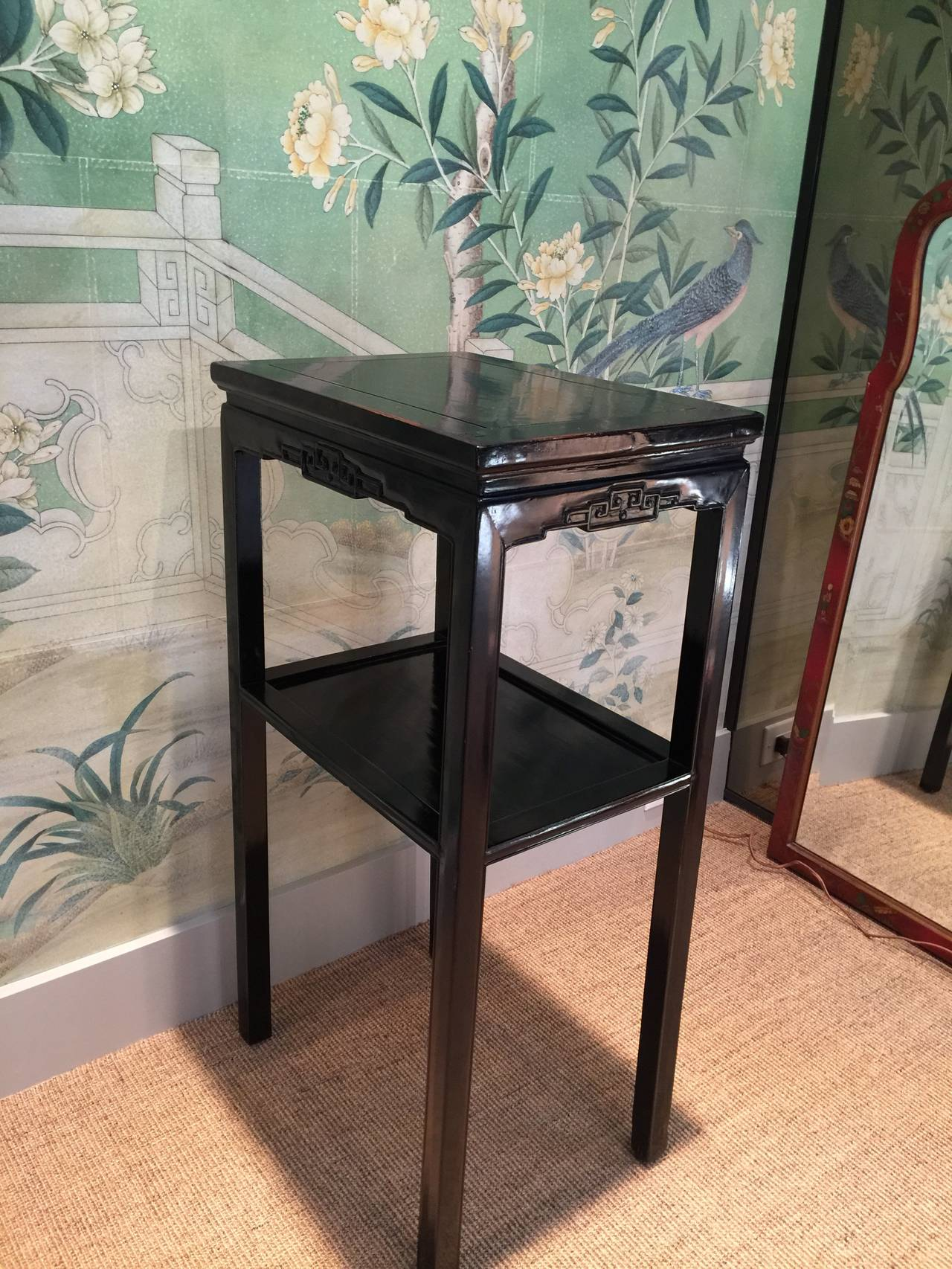 Chinese Black Lacquer Pedestal Tables 5