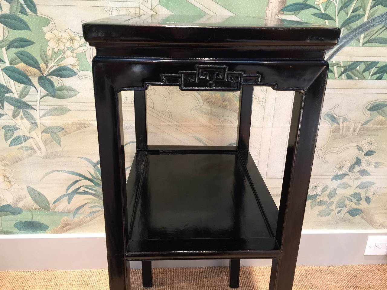 Chinese Black Lacquer Pedestal Tables 7