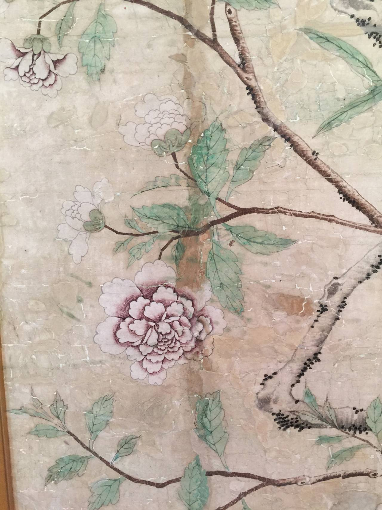A beautifully painted section of 18th century Chinese wallpaper.  Handpainted, with design of a flowering tree, and peacock.  Framed in an antiqued gold box frame.