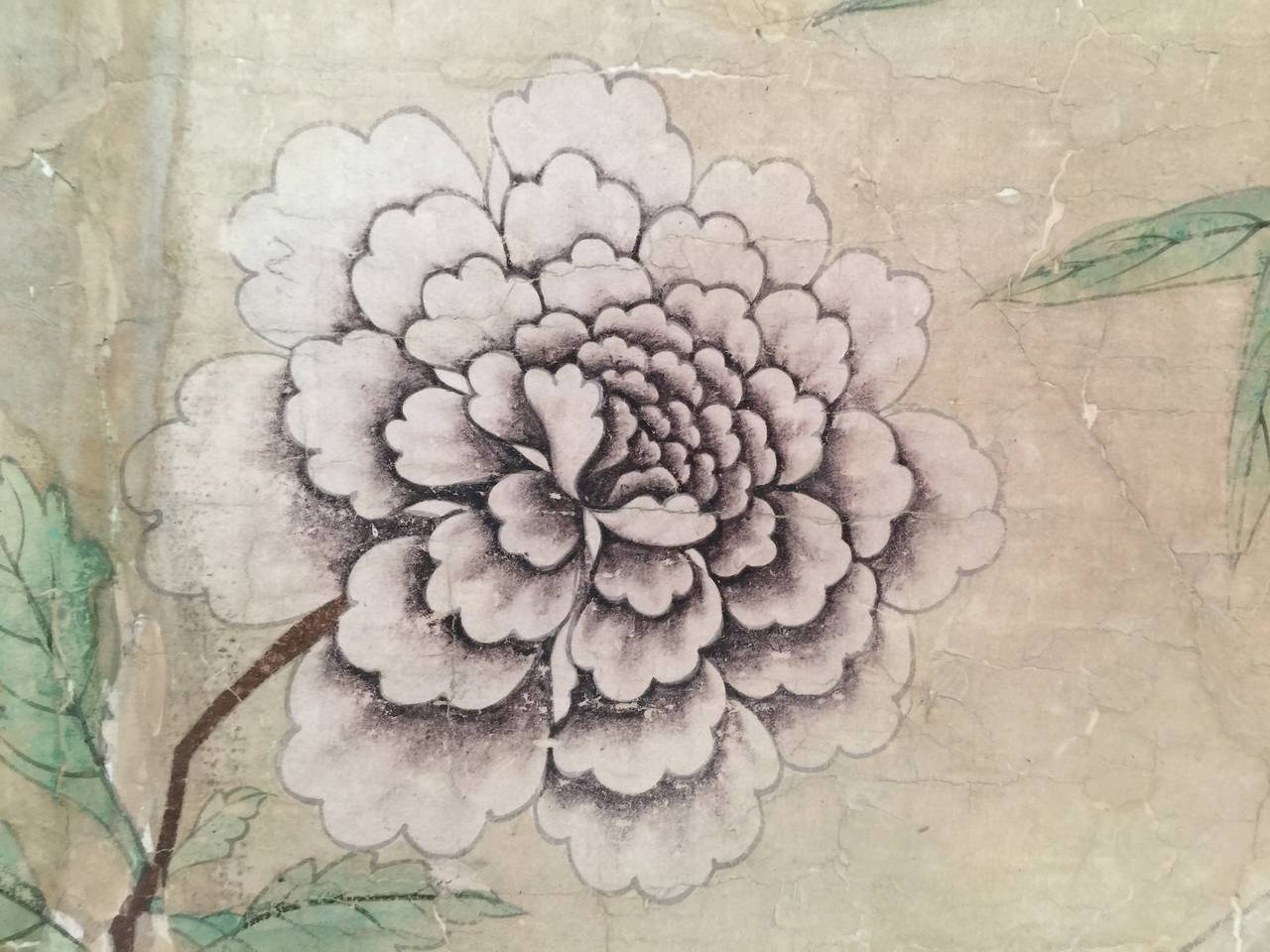 Hand-Painted Framed 18th Century Chinese Wallpaper Panel For Sale
