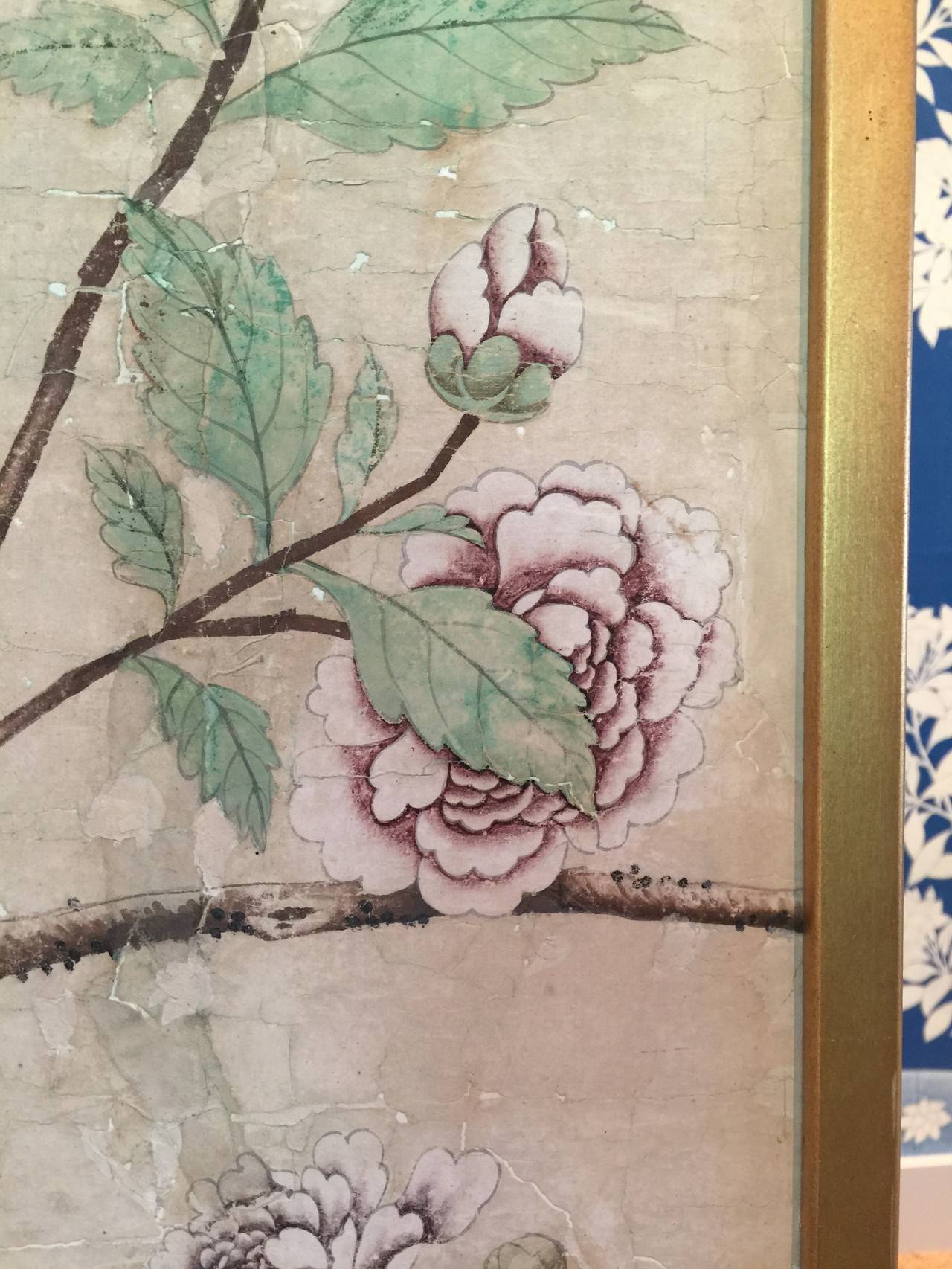 Framed 18th Century Chinese Wallpaper Panel For Sale 4