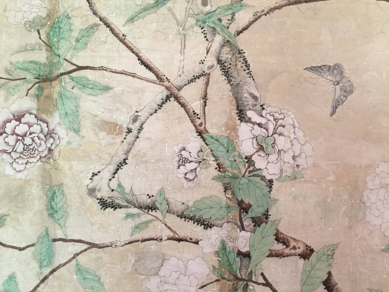 Framed 18th Century Chinese Wallpaper Panel For Sale 5