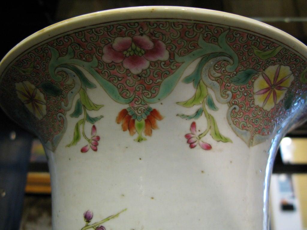 19th Century Chinese Famille Rose Beaker Shaped Vase For Sale
