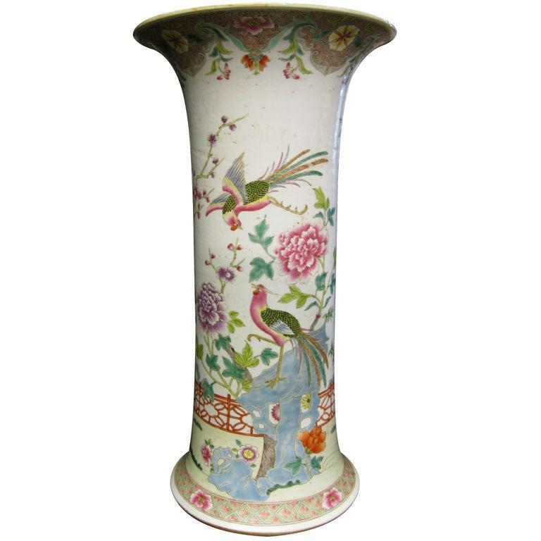Chinese Famille Rose Beaker Shaped Vase For Sale
